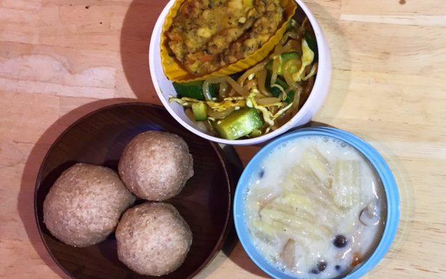 スペルト小麦のチーズパン、白菜の豆乳米粉クリームシチューほか
