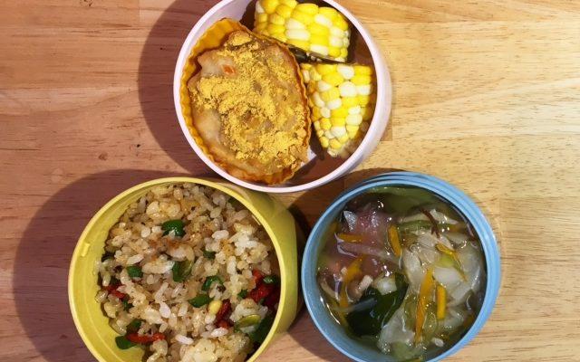 カラフル混ぜご飯、高野豆腐のカップ焼きほか