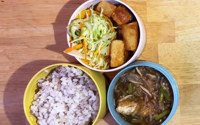 高野豆腐の香味ソース、利休汁ほか