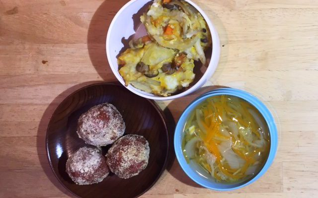 ココアきな粉揚げパン、ジュリエンヌスープほか