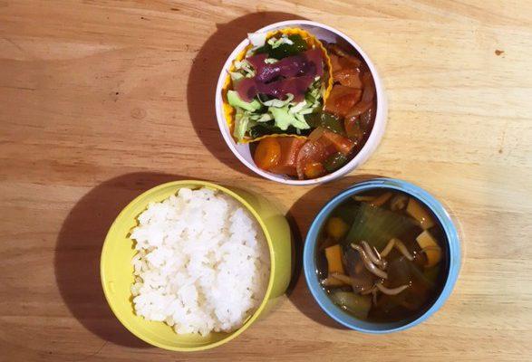 高野豆腐酢豚風、チンゲン菜スープほか