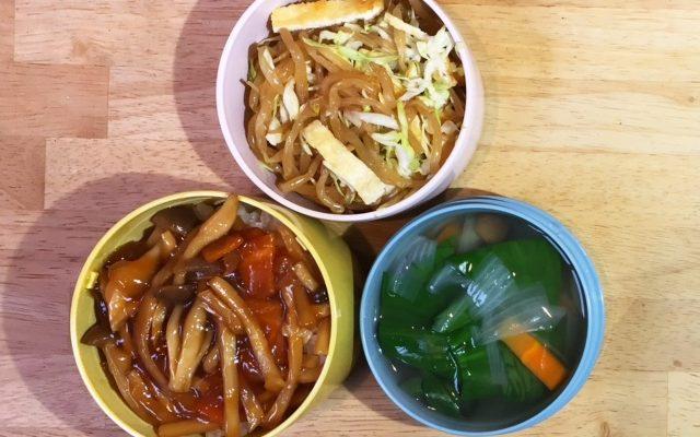 ベジ中華丼、行者にんにくの野菜スープほか