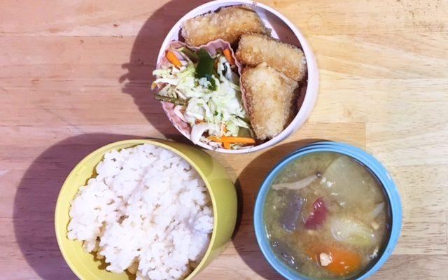 高野豆腐のフライ、さつま汁ほか