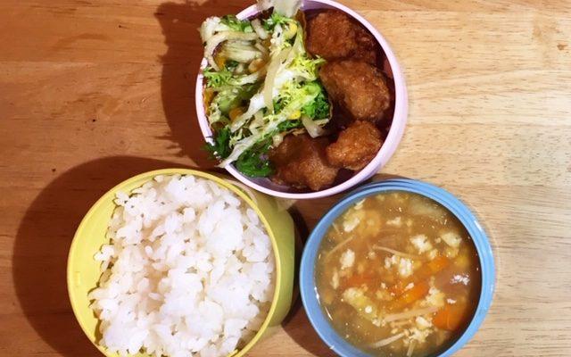 大豆ミートの唐揚げ、かき玉風スープほか