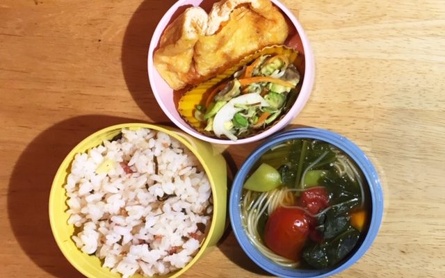 油揚げの高野豆腐詰め焼き、トマト素麺ほか