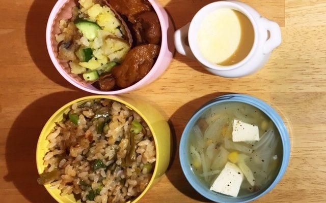 野沢菜炒飯、大豆ミートの照り焼きほか