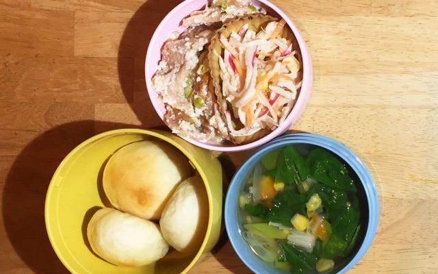 シンプルパン、ホウレンソウとコーンのスープほか