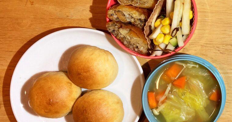 ベジ春巻き、白菜スープほか